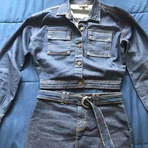 Prettylittlething Jean jacket/skirt set